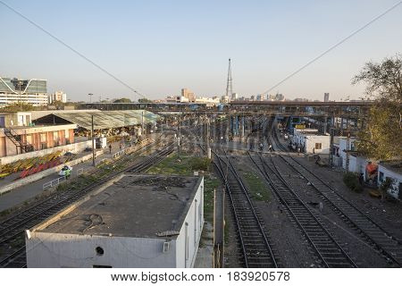 DELHI INDIA - MAR 18 : view of new delhi railway station. this station is large station of delhi on march 18 2015 india