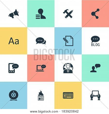 Vector Illustration Set Of Simple User Icons. Elements Keypad, Gain, Argument And Other Synonyms Considering, Notepad And Web.
