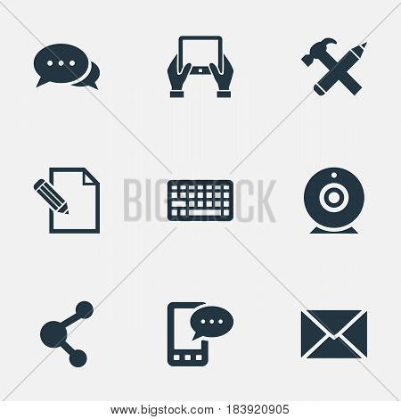 Vector Illustration Set Of Simple User Icons. Elements Keypad, Argument, Share And Other Synonyms Message, Contract And Epistle.