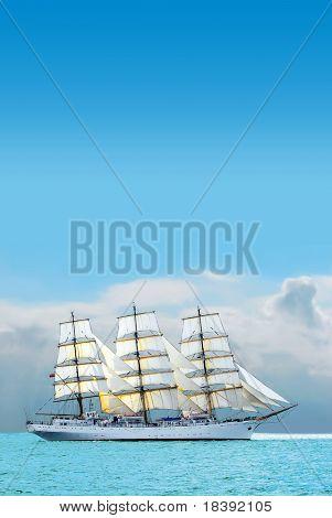 nostalgic sailboat sailing the caribbean on a sunny day