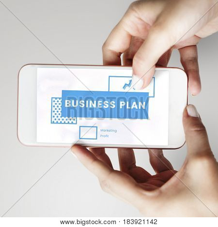 Startup new business competition plan word on mobile phone