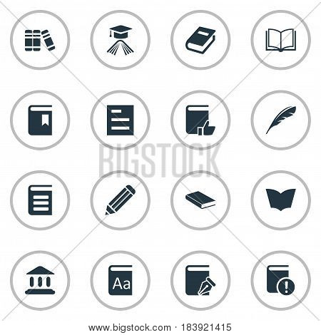 Vector Illustration Set Of Simple Books Icons. Elements Tasklist, Blank Notebook, Recommended Reading And Other Synonyms Page, List And Blank.