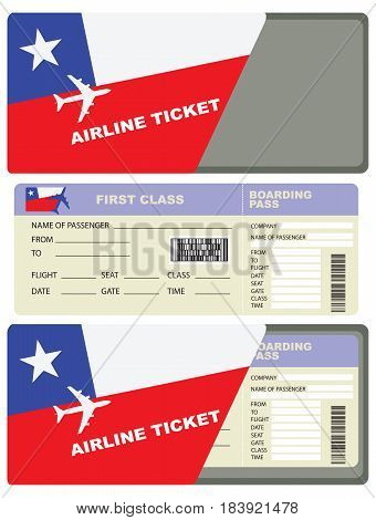 Service envelope for a flight ticket for a flight to Chile.