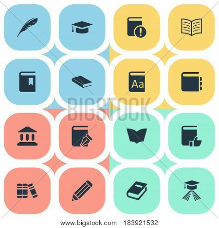Vector Illustration Set Of Simple Knowledge Icons. Elements Book Page, Important Reading, Reading And Other Synonyms Literature, Catalog And Bookmark.