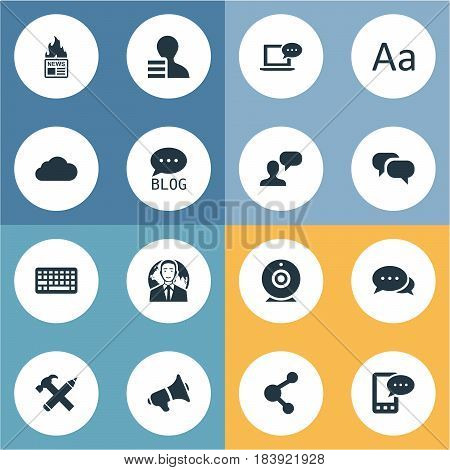 Vector Illustration Set Of Simple Newspaper Icons. Elements Site, Broadcast, Keypad And Other Synonyms Profit, Message And Site.