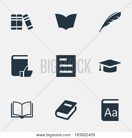 Vector Illustration Set Of Simple Education Icons. Elements Blank Notebook, Plume, Alphabet And Other Synonyms Notebook, Recommended And Graduation.
