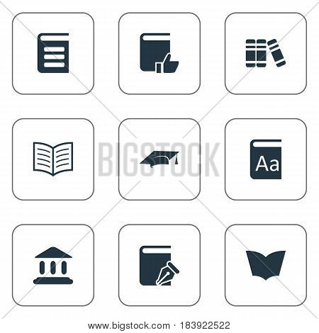 Vector Illustration Set Of Simple Knowledge Icons. Elements Bookshelf, Encyclopedia, Recommended Reading And Other Synonyms Encyclopedia, Dictionary And Literature.