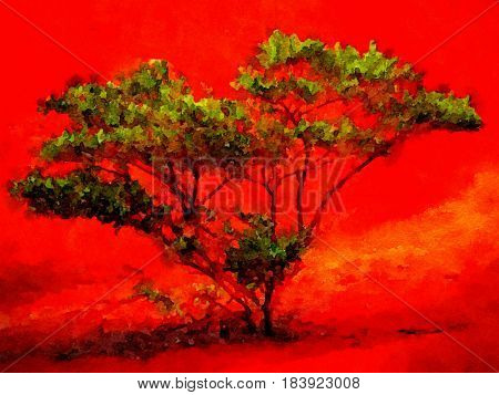 Very nice Beautiful Red tree against Red in kauai painting on paper