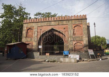 DELHI INDIA - JUN 11 : morning city scene on ajmeri gate at chawri bazar in old delhi on june 11 2015 india. old delhi is area of old city of Delhi