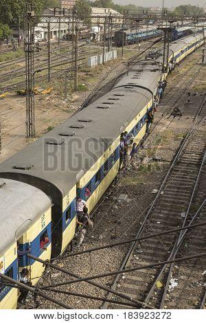 DELHI INDIA - JUN 11 : crowded people in train near new delhi railway station of delhi on june 11 2015 india. new delhi railway station is large station in delhi