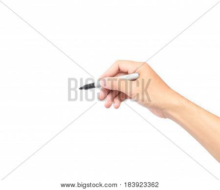 Man hand holding a black marker pen on white background