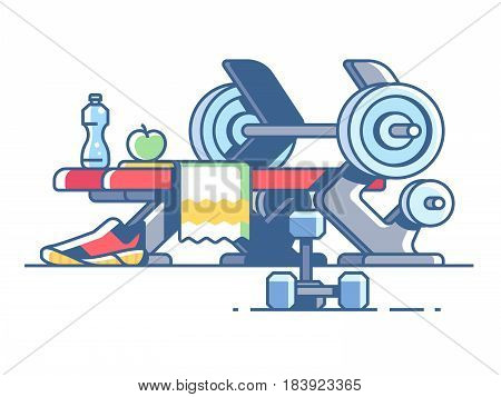 Sports and fitness. Dumbbells and barbells in gym. Vector illustration
