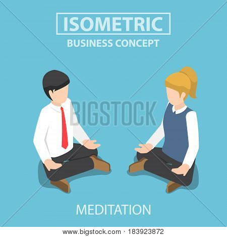 Isometric Businessman Doing Yoga In Lotus Pose.