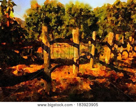 Nice Watercolor Painting of a avacado Farm