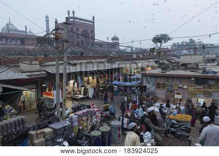 DELHI INDIA - DEC 13 : unidentified people in marketplace near jama masjid in old delhi. jama masjid is biggest masjid of delhi on december 13 2014 india