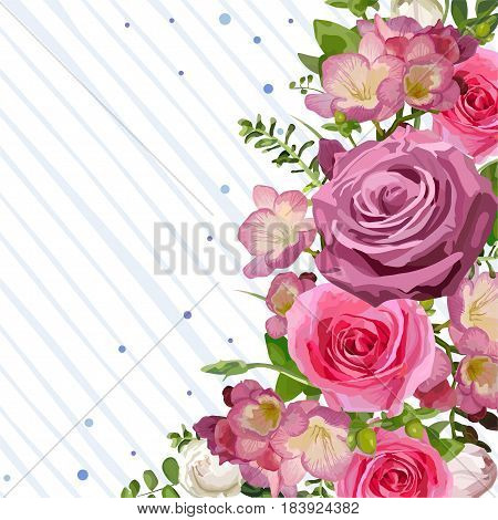 Flower blooming flowers pink Rose leaves beautiful lovely spring summer bouquet vector illustration. Top view square fine elegant watercolor design white background save date greeting card text space