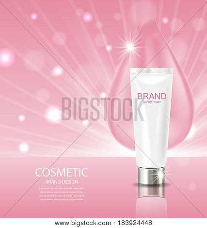 Cosmetic Cream and drop on pink background Advertising Poster - Illustration Vector