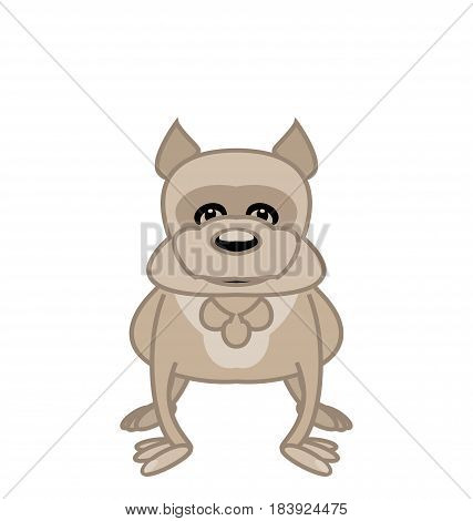 Illustration funny dog. Bulldog smiling front standing on white background. Vector.