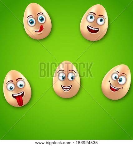 Illustration Happy Easter Background with Cheerful Cartoon Eggs, Positive Emotions, Humor Banner - Vector