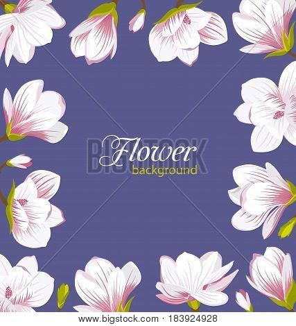 Illustration Old Border Made of Beautiful Magnolia Flowers. Cute Card - Vector