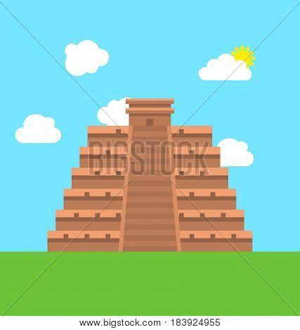 Illustration Mexico Chichen Itza Tulum Kukulcan Pyramid. Flat Style - Vector