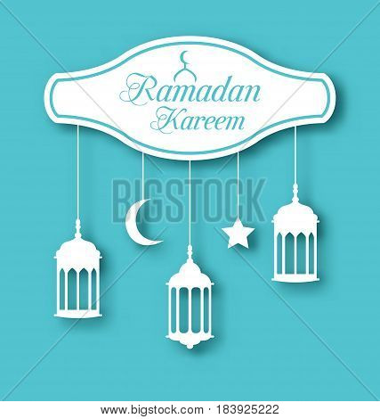 Illustration Arabic Simple Card for Ramadan Kareem with Lamps Fanoos , Calligraphic Text - Vector