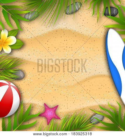 Illustration Beautiful Poster with Palm Leaves, Beach Ball, Frangipani Flower, Starfish, Surf Board, Sand Texture. Summer Vacation Background - Vector