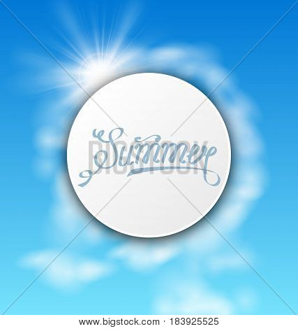 Illustration Abstract Card With Summer Text, Sky Cloudy Background - Vector