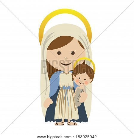 white background with colorful silhouette of saint virgin mary with baby jesus vector illustration