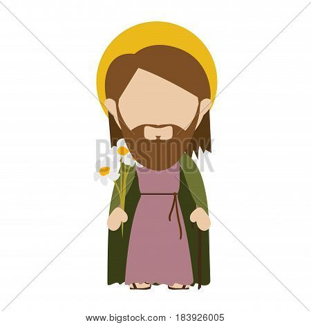 white background with colorful silhouette of faceless image of saint joseph father vector illustration