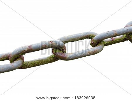 Close up of an old weathered chain isolated on a white background