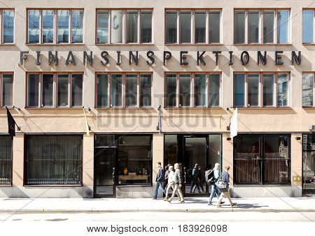 Stockholm Sweden - April 19 2014: The building and entrance to the office of the Sweden's financial supervisory authority (finansinspektionen) located at the street Norrlandsgatan.