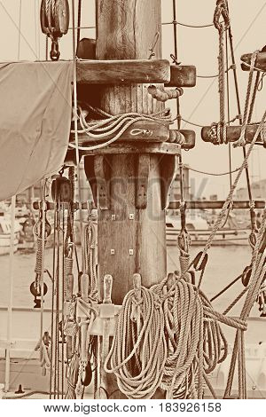 Mast of a beautiful sailing in boat
