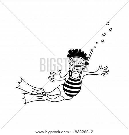 Vector illustration of a floating child with a mask and flippers. Aqualunger
