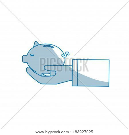 contour save pig in the hand, vector illustration design
