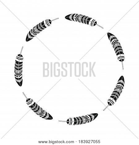 feather free spirit rustic decoration circle vector illustration