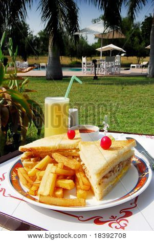 clubsandwich with fries in hotel garden with palm trees and swimmingpool