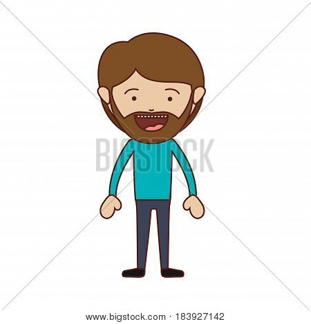 color silhouette of smiling man standing with beard and mustache and informal clothes vector illustration