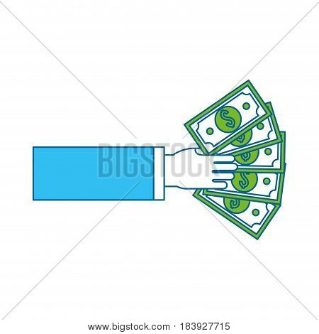 hand with green bill money, vector illustration design