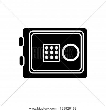silhouette metal safe money in the house secure, vector illustration