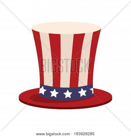 top hat american flag celebration anniversary vector illustration