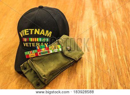 Vietnam Vets Hat, Ribbons & Magazine Pouch