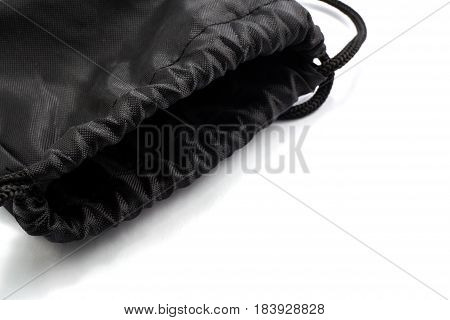 Black photo knapsack isolated on white background.