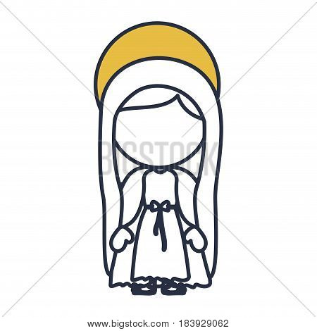blue color contour of faceless image of saint virgin mary with yellow aura vector illustration