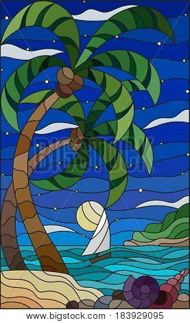 Illustration in stained glass style with a tropical sea landscape coconut trees and shells on the sandy beach a sailboat with a white sail in the distance on the background of starry sky clouds and moon