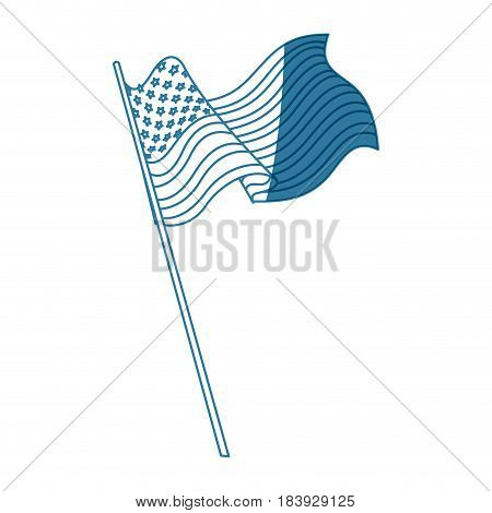 united states of america flag with pole shadow vector illustration