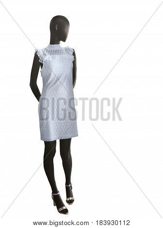 Full-length female mannequin dressed in white lacy dress isolated on white background. No brand names or copyright objects.