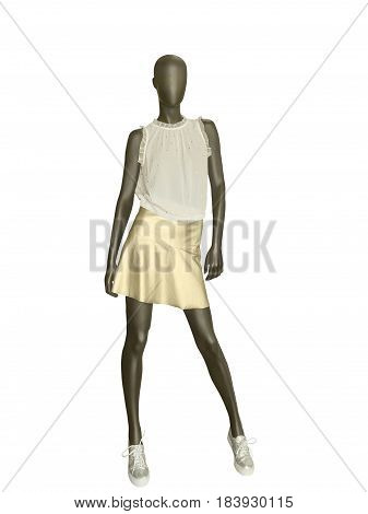 Female mannequin dressed in skirt and top isolated on white background. No brand names or copyright objects.