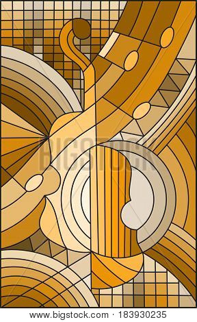 Illustration in stained glass style on the subject of music the shape of an abstract violin on geometric background brown tone sepia