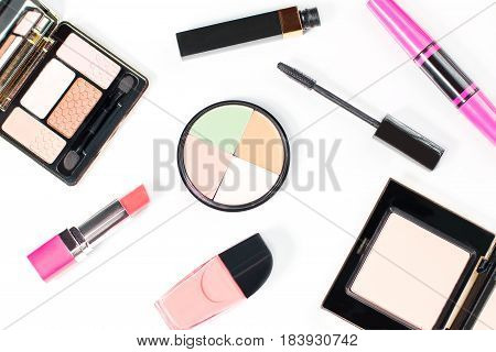 Make up items collection on white background, top view